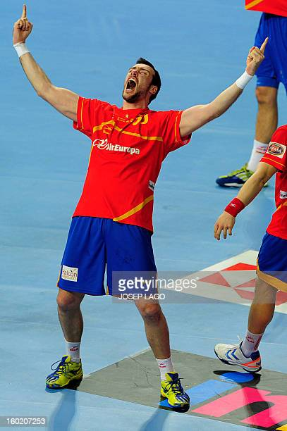Spain's pivot Gedeon Guardiola celebrates their victory at the end of the 23rd Men's Handball World Championships final match Spain vs Denmark at the...