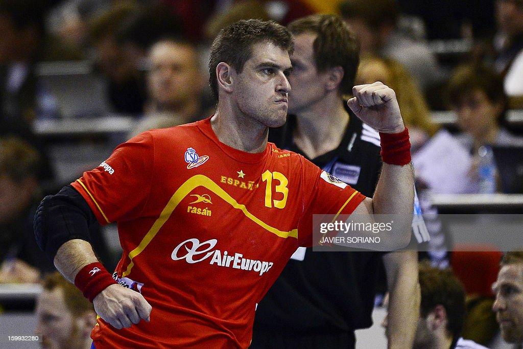 Spain's pivot Julen Aguinagalde celebrates after scoring during the 23rd Men's Handball World Championships quarterfinal match Spain vs Germany at...