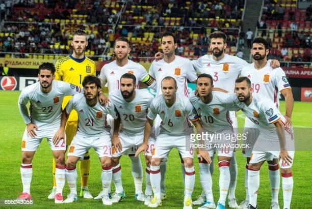 Spain's players David De Gea Sergio Ramos Sergio Busquets Gerard Pique Diego Costa Isco David Silva Daniel Carvajal Andres Iniesta Thiago and Jordi...