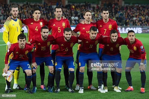 Spain's players goalkeeper David De Gea defender Marc Bartra midfielder Sergio Busquets defender Ignacio Monreal forward Alvaro Morata and midfielder...