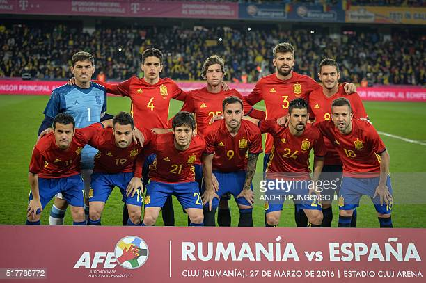 Spains players Iker Casillas Marc Bartra Sergi Roberto Gerard Pique Koke Pedro Mario Gaspar David Silva Paco Alcacer Nolito Jordi Alba poses for the...