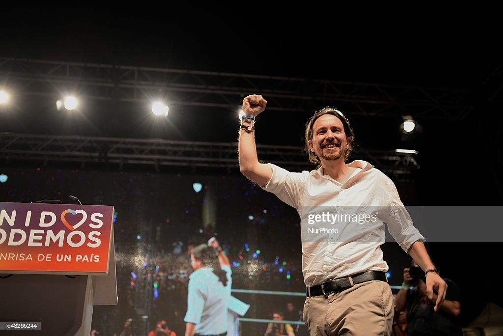 Spain's Podemos coalition party leader Pablo Iglesias with the supporters of Unidos Podemos following the results of the the general election, in Madrid on June 26, 2016. Podemos is unable to exceed the Spanish workers Socialist Party (PSOE) and the popular party of Mariano Rajoy wins 12 more seats in Parliament.