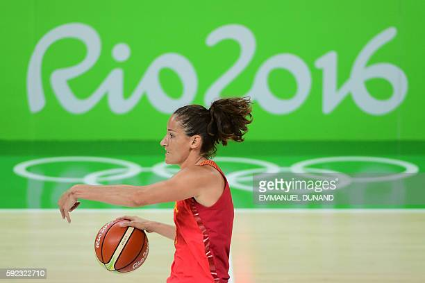 Spain's point guard Laia Palau runs during a Women's Gold medal basketball match between USA and Spain at the Carioca Arena 1 in Rio de Janeiro on...
