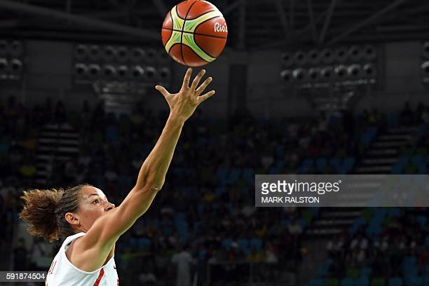 Spain's point guard Laia Palau takes a shot during a Women's semifinal basketball match between Spain and Serbia at the Carioca Arena 1 in Rio de...