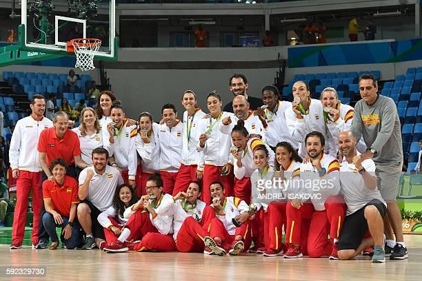Spain's point guard Leticia Romero Spain's power forward Laura Nicholls Spain's point guard Silvia Dominguez Spain's forward Alba Torrens Spain's...