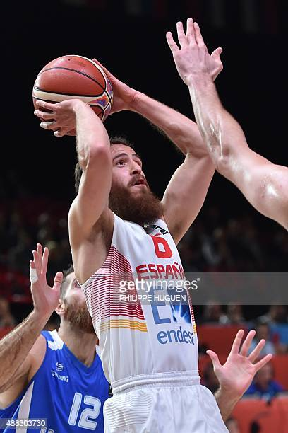Spain's point guard Sergio Rodriguez aims at the basket during the round of 8 basketball match between Spain and Greece at the EuroBasket 2015 in...