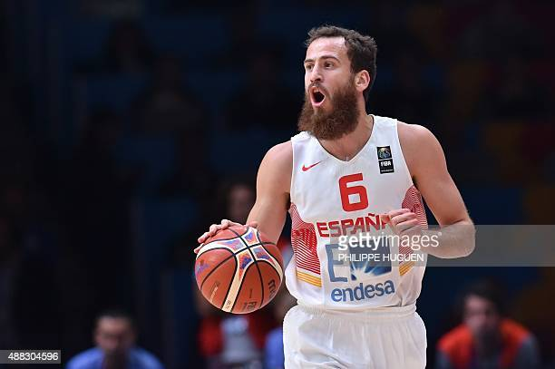 Spain's point guard Sergio Rodriguez dribbles during the round of 8 basketball match between Spain and Greece at the EuroBasket 2015 in Lille...