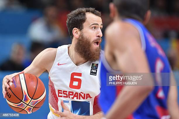 Spain's point guard Sergio Rodriguez dribbles during the semifinal basketball match between Spain and France at the EuroBasket 2015 in Lille northern...