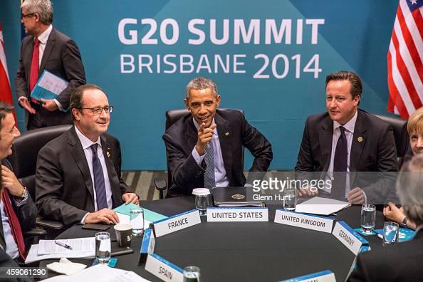 Spain's President Mariano Rajoy Brey Italy's Prime Minister Matteo Renzi President of France Francois Hollande US President Barack Obama Britain's...