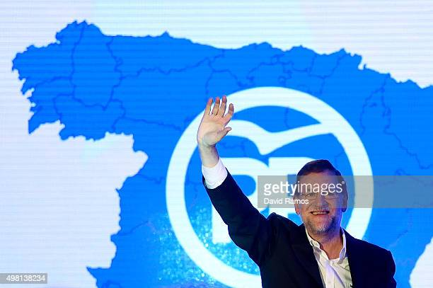 Spain's Prime Minister and President of Partido Popular waves during the official presentation of the Partido Popular candidates on November 21 2015...
