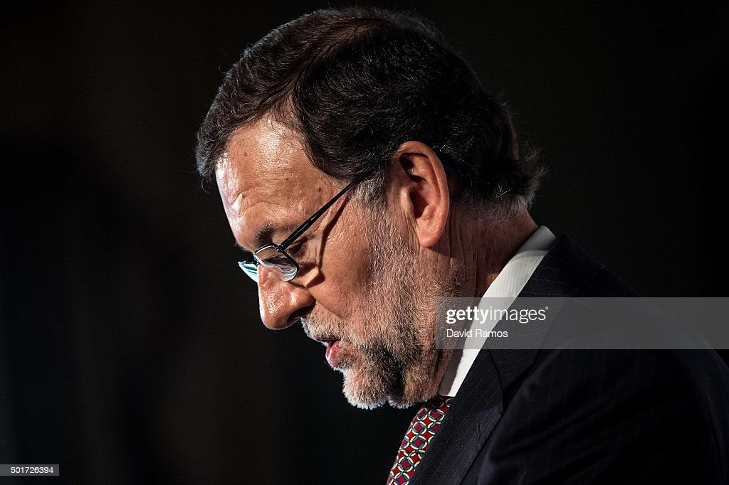 Spain's Prime Minister and President of right-wing Partido Popular (People's Party) Mariano Rajoy delivers a speech during a meeting with businessmen on December 17, 2015 in Barcelona, Spain. Mariano Rajoy was punched in face yesterday in Pontevedra by a seventeen-years-old boy while on a campaign trail. Over 36 million Spaniards will flock to the polls on Sunday December 20, 2015 to vote for 350 members of the parliament and 208 senators. For the first time since 1982, the two traditional Spanish political parties, right-wing Partido Popula (People's Party) and centre-left wing Partido Socialista Obrero Espanol PSOE (Spanish Socialist Workers' Party), are holding a tight election race with two new contenders, Ciudadanos (Citizens) and Podemos (We Can) attracting right-leaning and left-leaning voters respectively.