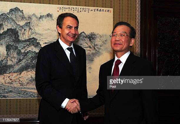 Spain's Prime Minister Jose Luis Rodriguez Zapatero meets with his Chinese countepart Wen Jiabao at Zhongnanhai on April 12 2011 in Beijing soon...