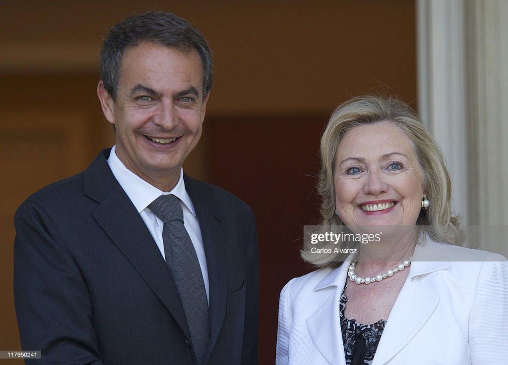 Spain's Prime Minister Jose Luis Rodriguez Zapatero Meets Hillary Clinton