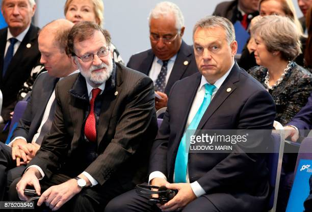 Spain's Prime minister Mariano Rajoy and Hungary's Prime minister Viktor Orban attend the first working session of the European Social Summit in...