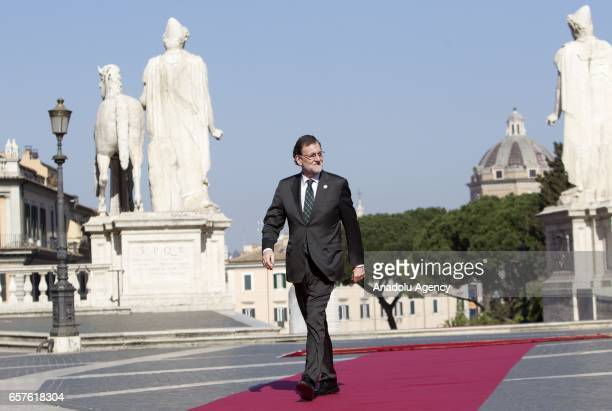 Spain's Prime Minister Mariano Rajoy arrives for a ceremony marking the EU's 60th anniversary of the Treaty of Rome at the Campidoglio in Rome Italy...