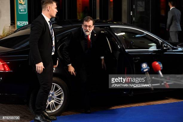 Spain's Prime Minister Mariano Rajoy arrives to attend the European Social Summit in Gothenburg Sweden on November 17 2017 / AFP PHOTO / Jonathan...