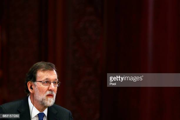 Spain's Prime Minister Mariano Rajoy attends a summit at the Belt and Road Forum on May 15 2017 in Beijing China The Belt and Road Forum focuses on...