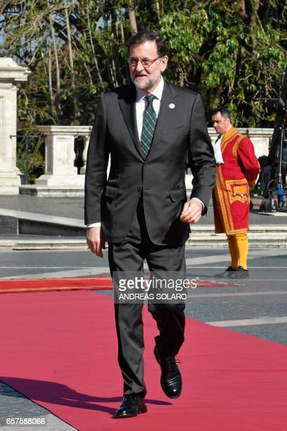 Spain's Prime minister Mariano Rajoy Brey arrives ahead of a special summit of EU leaders to mark the 60th anniversary of the bloc's founding Treaty...