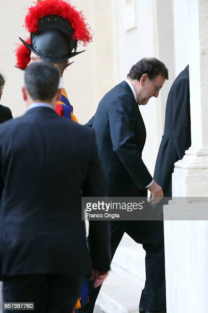 Spain's Prime Minister Mariano Rajoy Brey arrives at the Apostolic Palace for an audience of Pope Francis with 27 heads of state or government on...