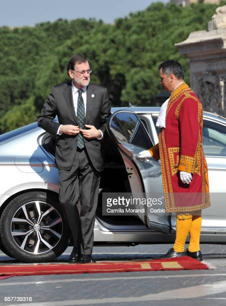 Spain's Prime Minister Mariano Rajoy Brey arrives at the Capitole Hill ahead of a special summit of EU leaders to mark the 60th anniversary of the...