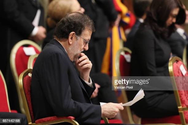 Spain's Prime Minister Mariano Rajoy Brey attends a meeting with Pope Francis at the Regia Hall on March 24 2017 in Vatican City Vatican Pope Francis...