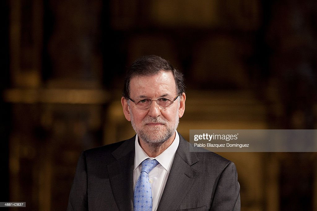 Spain's Prime Minister Mariano Rajoy looks on as he attends with Japanese Prime Minister Shinzo Abe (not in picture) to a meeting with the press at Hostal Los Reyes Catolicos after their visit to Santiago de Compostela cathedral on May 4, 2014 in Santiago de Compostela, Spain. Shinzo Abe is on a nine days tour of six European nations. Abe has been to Germany, United Kingdom and Portugal, and he will visit France and Belgium after Spain.