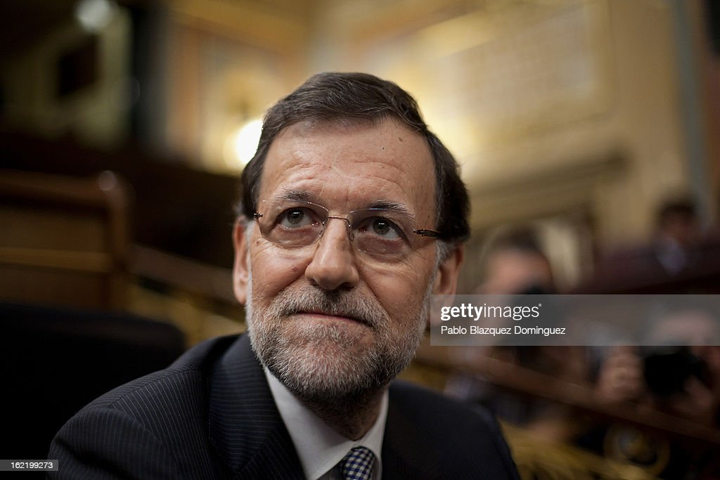 Spain's Prime Minister Mariano Rajoy looks on during the first State of Nation Debate during his government at Parliament on February 20 2013 in...