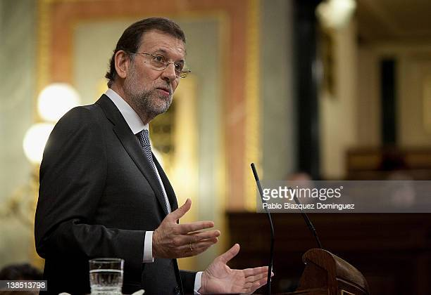 Spain's Prime Minister Mariano Rajoy speaks during a plenary session of the Spanish Parliament on February 8 2012 in Madrid Spain Mariano Rajoy...
