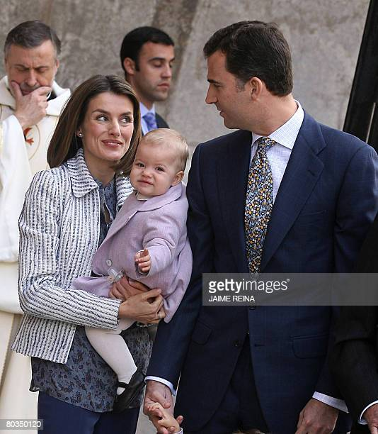 Spain's Prince Felipe and Letizia are seen with their daugther Sofia before the traditional Mass of the Resurrection in Palma de Mallorca on March 23...