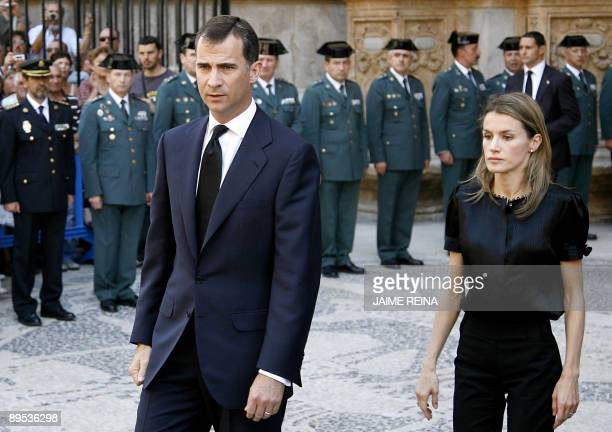 Spain's Prince Felipe and Princess Letizia arrive for the funeral for two policemen killed in a car bombing in Palma de Mallorca July 31 2009 Two...