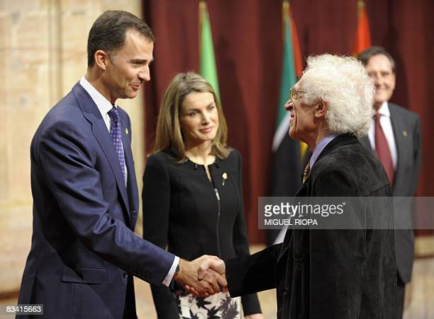 Spain's Prince Felipe and Princess Letizia greet French philosopher Tzvetan Todorov during the 2008 Prince of Asturias Award oficial audience at the...