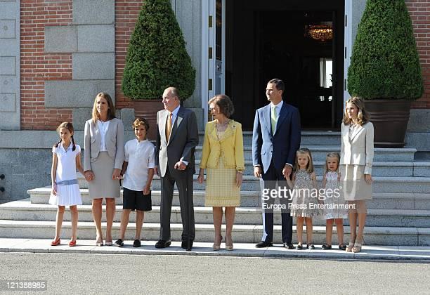 Spain's Princess Elena her daughter Victoria Federica and son Felipe Juan Froilan Spain's King Juan Carlos Spain's Queen Sofia Spain's Prince of...