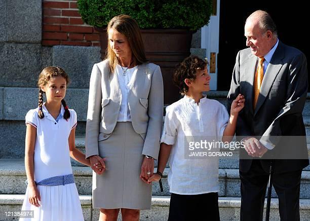 Spain's Princess Elena her daughter Victoria Federica her son Felipe Juan Froilan and Spain's King Juan Carlos wait for Pope Benedict XVI at the...