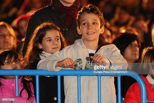 Spain´s princess Elena's ex husband Jaime de Marichalar his son Felipe Juan and daughter Victoria Federica attend the procession of the Wise Men on...