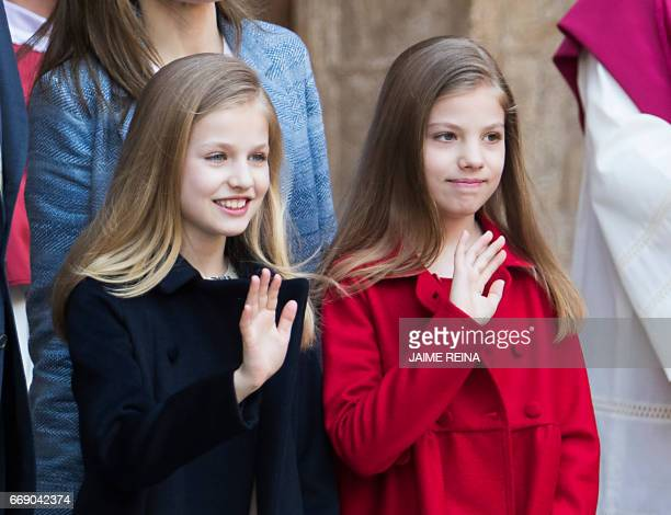 Spain's Princess Leonor and her sister Sofia pose before attending the traditional Mass of Resurrection in Palma de Mallorca on April 16 2017 / AFP...