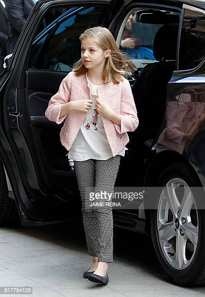 Spain's Princess Leonor leaves the car as she arrives to attend the traditional Mass of Resurrection in Palma de Mallorca on March 27 2016 REINA