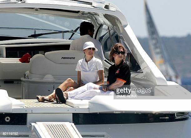 Spain's Princess Letizia and Queen Sofia watch the third day of racing in the Copa del Rey regatta off the coast of Palma de mallorca on July 30 2008...
