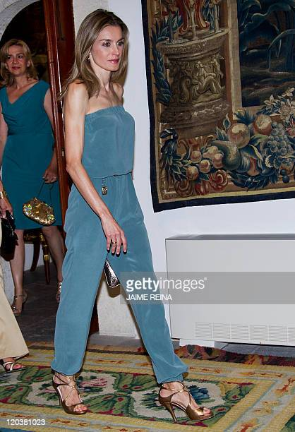 Spain's Princess Letizia arrives at the Almudaina Palace in Palma de Mallorca before a dinner with local autority representatives on August 5 2011...