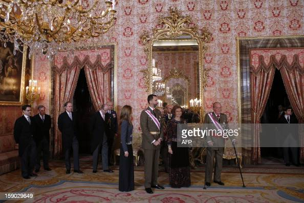 Spain's Princess Letizia Spain's Crown Prince Felipe Spain's Queen Sofia and Spain's King Juan Carlos stand in a room of the Royal Palace during the...