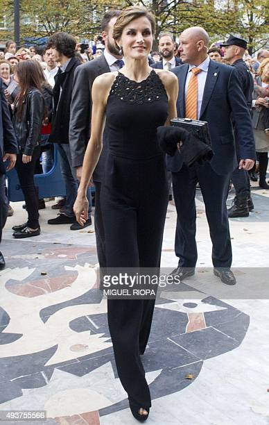 Spain's Queen Letizia arrives for a tribute to US filmmaker Francis Ford Coppola at the Jovellanos Theatre in Gijon on October 22 2015 on the eve of...