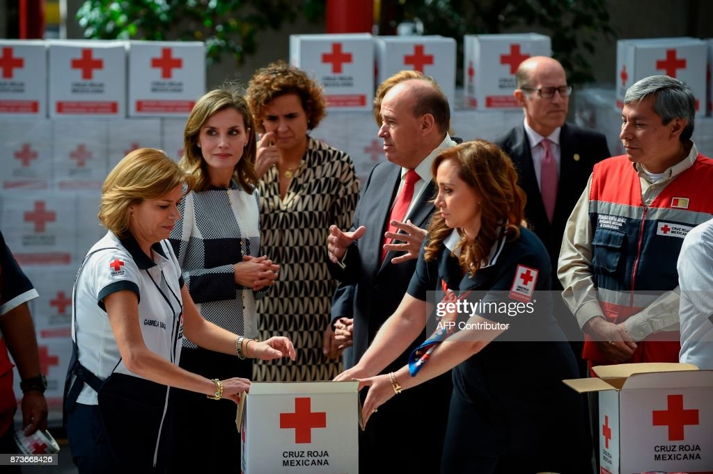 Spain's Queen Letizia visits the Red Cross headquarters in Mexico City
