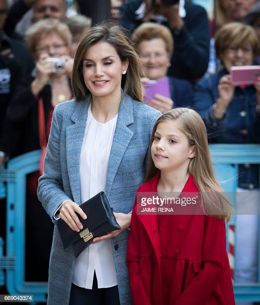Spain's Queen Sofia and her daughter Princess Sofia pose before attending the traditional Mass of Resurrection in Palma de Mallorca on April 16 2017...