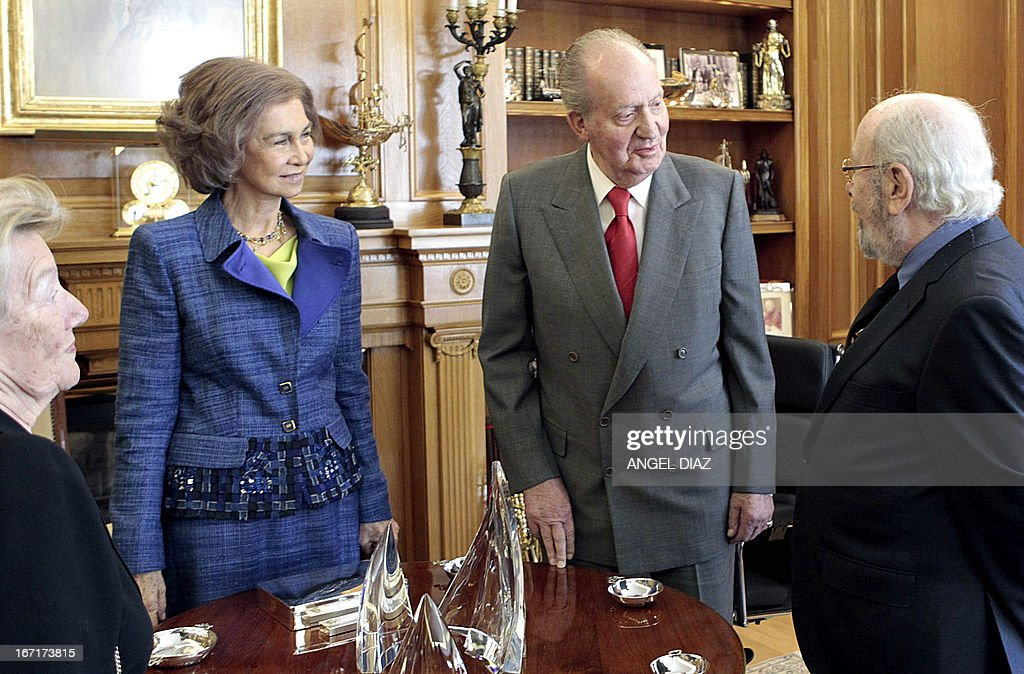 Spain's Queen Sofia (2nd L) and Spain's King Juan Carlos (2nd R) meet with the winner of the 2013 Literature Premio Cervantes award Jose Manuel Caballero Bonald (R) in Madrid on April 22, 2013. King Juan Carlos resumed his official activities today for the first time since he underwent a surgery on March 3 to fix slipped discs and a lumbar spinal stenosis, a condition in which the spinal canal narrows, causing back pain.