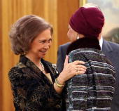 Spain's Queen Sofia greets the wife of the Emir of Qatar Sheikha Mozah bint Nasser Al Missned during an official representation of assistants of the...