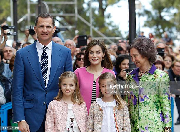 Spain's Queen Sofia King Felipe VI of Spain and his wife Queen Letizia and their daughters Princess Leonor and her sister Sofia pose for...