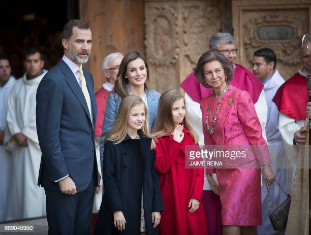 Spain's Queen Sofia King Felipe VI of Spain and his wife Queen Letizia and their daughters Princess Leonor and her Sofia pose before attending the...