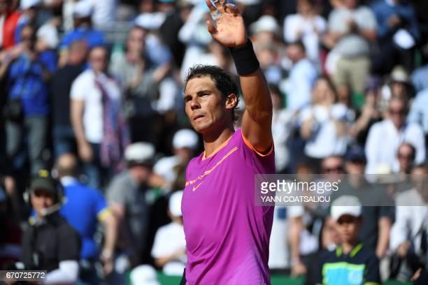 Spain's Rafael Nadal celebrates after victory on German Alexander Zverev after their match at the MonteCarlo ATP Masters Series tennis tournament on...