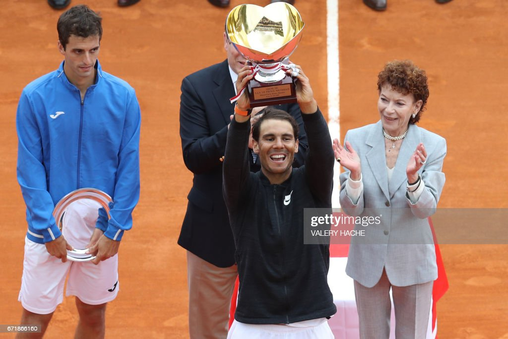 Spain's Rafael Nadal celebrates as he brandishes his trophy during the prize ceremony after winning the Monte-Carlo ATP Masters Series Tournament final tennis match, on April 23, 2017 in Monaco. /