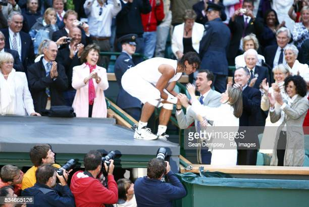Spain's Rafael Nadal celebrates his victory over Switzerland's Roger Federer with Spain's Crown Prince Felipe and Princess Letizia in the Men's Final...