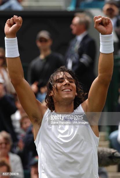 Spain's Rafael Nadal celebrates his win against Czech Republic's Tomas Berdych during The All England Lawn Tennis Championship at Wimbledon